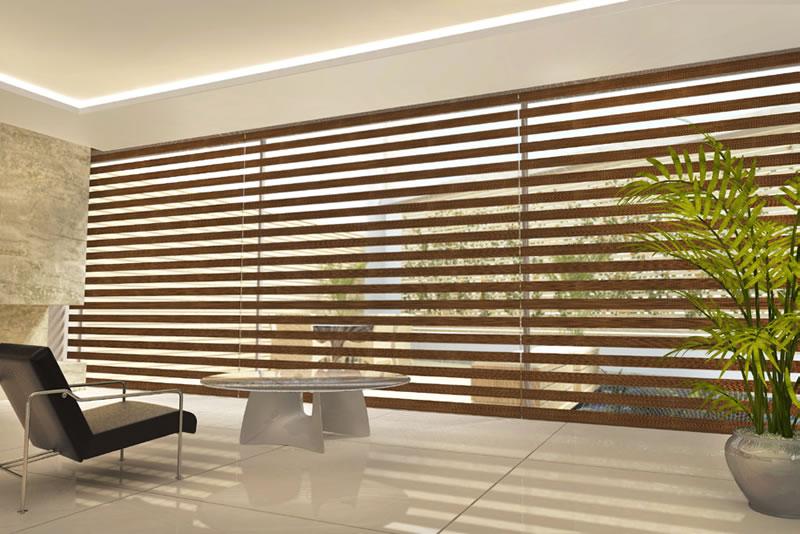 Cortina Rolô Double Vision Sheer Elegance Wood