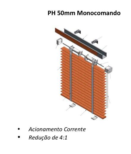 Persiana horizontal acionamento monocontrole